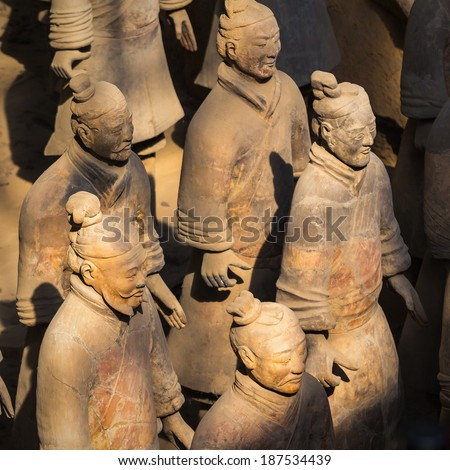 "XIAN,CHINA -MAR 24 :The Terracotta Army or the ""Terra Cotta Warriors and Horses"" buried in the pits next to the Qin Shi Huang's tomb in 210-209 BC. March 24, 2014 in Xian of Shaanxi Province, China."
