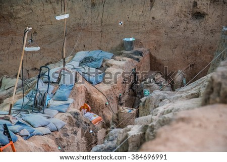 "XIAN,CHINA -MARCH 18 : Exhibition of ""Terra Cotta Warriors and Horses"" buried in the pits next to the Qin Shi Huang's tomb that made in 210-209 BC. MARCH 18, 2015 in Xian of Shaanxi Province, China."