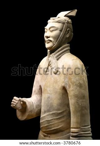 Xian China: Terracotta Warrior Statue (Archer) - stock photo