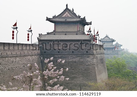 Xian City Wall ,one of the oldest and best preserved Chinese city walls - stock photo