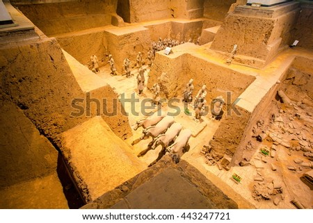 XIAN, SHANXI/CHINA-MAY 16: Emper Qin's Terra-cotta warriors and horses Museum on May 16, 2016 in Xian, Shanxi, China. The picture shows Pit 2. - stock photo