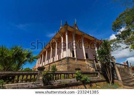 Xiem Can Khmer pagoda located in the Cu Lao village, Hung Hoi commune, Vinh Loi district Bac Lieu, Vietnam , is the most beautiful khmer theravada buddhist temple in the mekong delta . - stock photo
