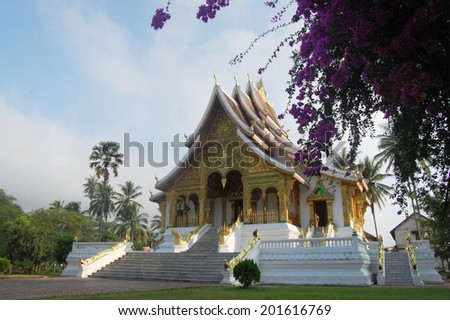 Xiengthong Temple in Luang Prabang City at Loas Lao People s Democratic Republic  - stock photo