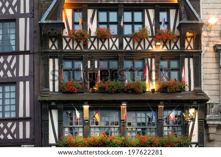 XIII century half-timbered house in downtown Rouen - stock photo
