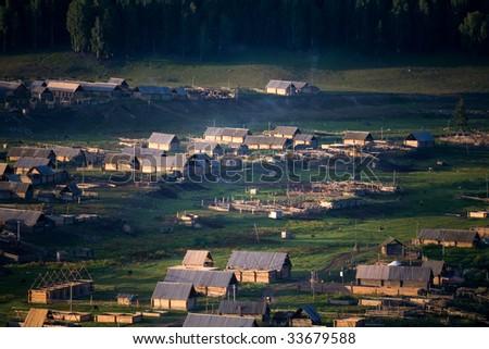 Xinjiang's nature peasant farm  Mongolian descendant - stock photo