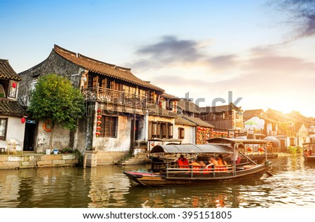 Xitang ancient town , Xitang is first batch of Chinese historical and cultural town, located in Zhejiang Province, China. - stock photo