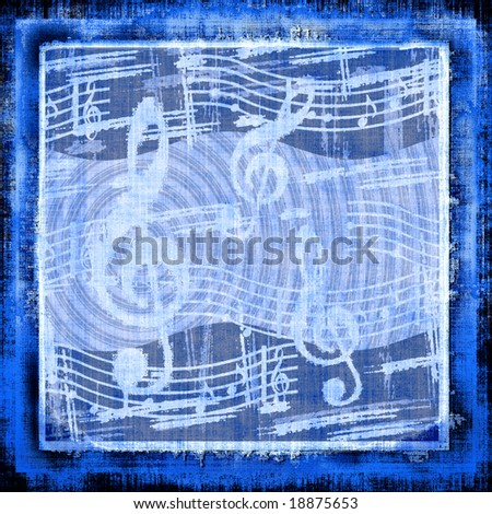 XL Music Tapestry In Blue Grunge - stock photo