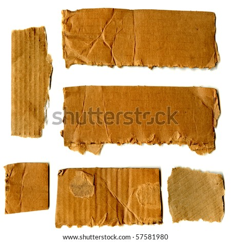 XL Real Cardboard Paper Pieces - stock photo