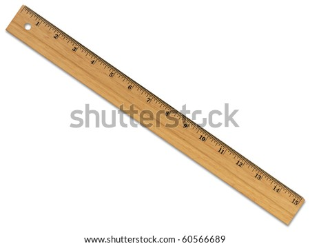XL Wooden Ruler with Path - stock photo
