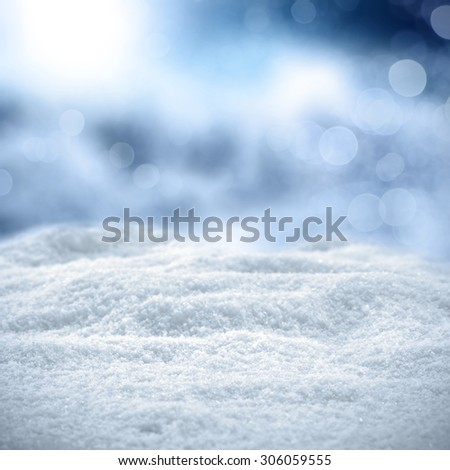 xmas background of snow and frost and blue sky  - stock photo