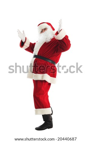 Xmas  background: Santa Claus, gifts, - stock photo