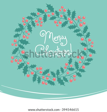 Xmas background. Vintage card with Christmas wreath. - stock photo