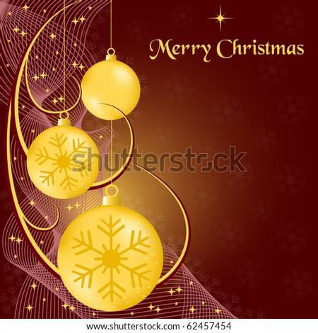 Xmas balls gold, wispy lines, stars and snowflakes on burgundy background. Copy space for text. Vector also available. - stock photo