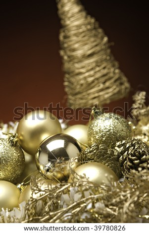 Xmas Baubles and decorations on a table - stock photo