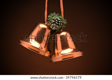 xmas bell decoration in red with acorn above - stock photo