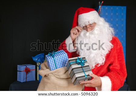 Xmas, Christmas time, santa claus  ready for delivering presents.  Holiday, happiness, peace concept.