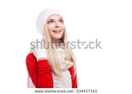 xmas, christmas, winter holidays, people, happiness concept - bright picture of smiling happy beautiful woman in hat, muffler and gloves white isolated background