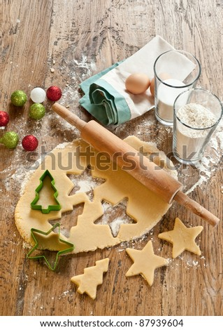 Xmas cookies ingredients - stock photo