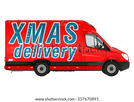 Xmas delivery. Red courier van on the white background. Raster illustration. - stock photo