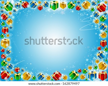 xmas gifts blue background with snowflakes and stars