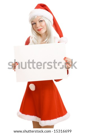 Xmas girl holding blank sign