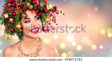 Xmas Model Woman - Holiday Makeup With Christmas Tree In Hairstyle
