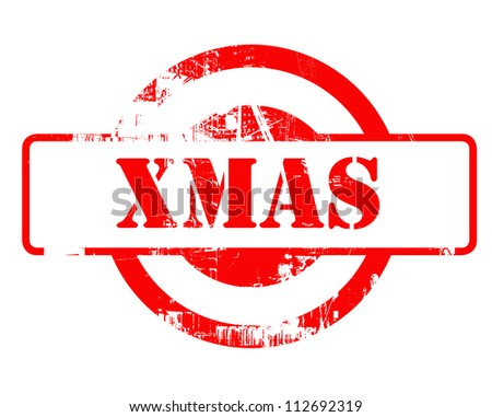 Xmas or Christmas red stamp with copy space isolated on white background.