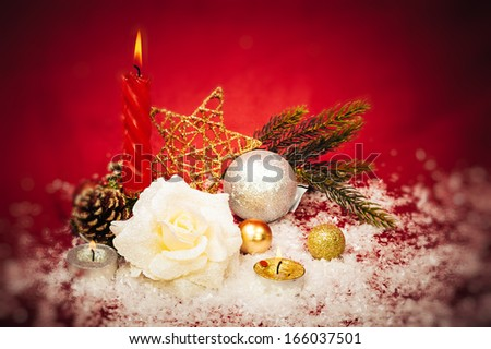 xmas ornaments on bright holiday background with space for text. New Year Celebration. Isolate on white. Christmas background. Happy New Year and Merry Christmas!