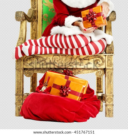 xmas photo of red and white pantyhose and chair and sack  with saved path for you