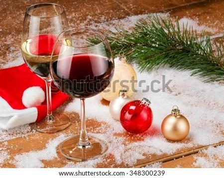 Xmas red and white wine - stock photo