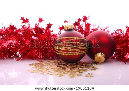 Xmas red balls - stock photo