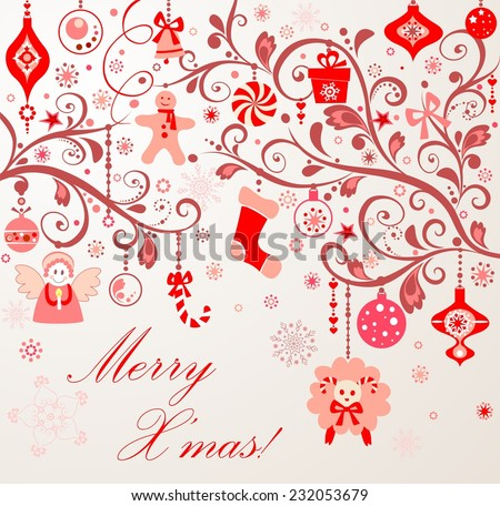 Xmas red decoration with lamb. Raster copy - stock photo