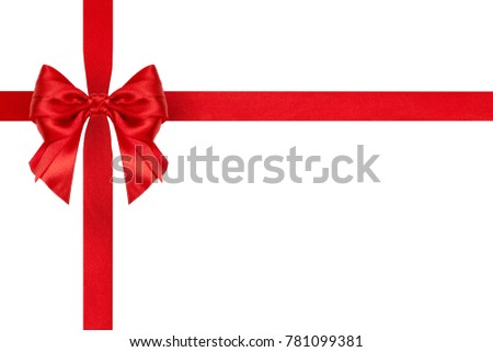 Xmas red satin ribbon bow with crosswise ribbons isolated on white background