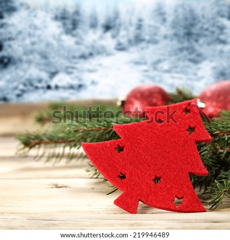 xmas red tree and landscape  - stock photo