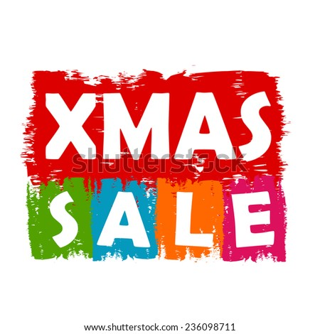 Xmas sale - colorful draw banner, business concept
