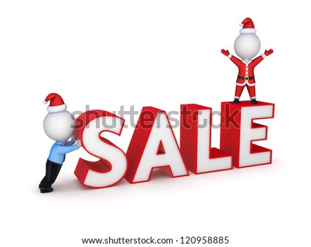 Xmas sale concept.Isolated on white background.3d rendered. - stock photo