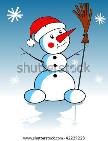 Xmas snowman - stock photo