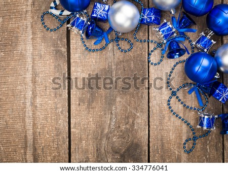 Xmas toys on wooden background