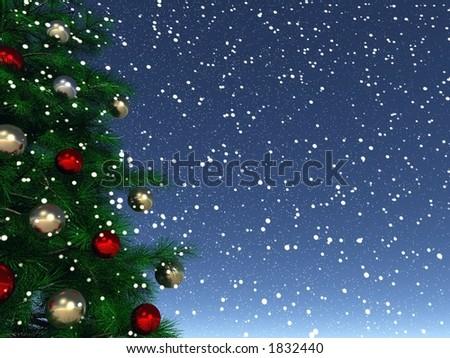 xmas tree background - stock photo