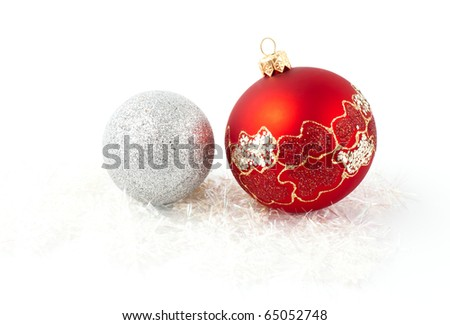xmas tree decoration red and silver balls isolated - stock photo