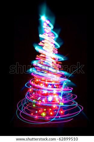 xmas tree (lights) on the black background - stock photo
