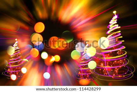xmas tree lights on the color christmas background - stock photo