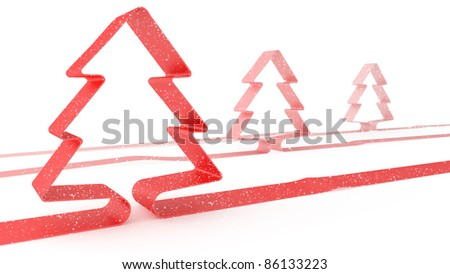 Xmas tree on white background - stock photo