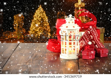 xmas tree wooden table place and free space for you