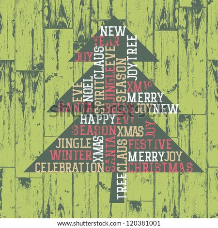 Xmas tree words_composition. Raster version, vector file available in portfolio. - stock photo