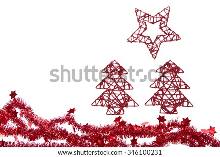 xmas trees with star isoalted on white background - stock photo