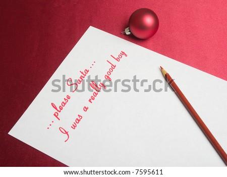 xmas wish list for Santa - stock photo