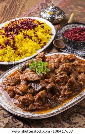 xoresht-e badenjan - persian  lamb ragout - stock photo