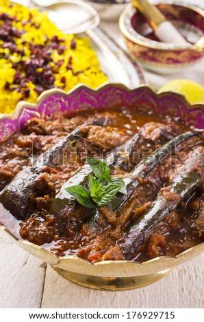 xoresht -e badenjan - persian lamm stew - stock photo