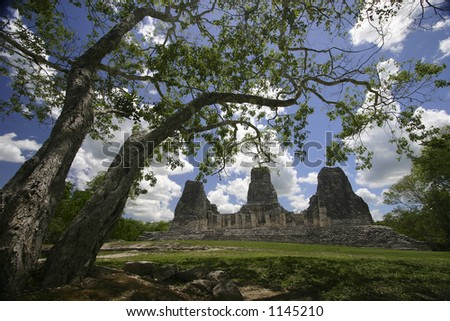 Xpuhil Ruins-Ancient Mayan ruins in the Rio Bec area in Yucatan, Mexico